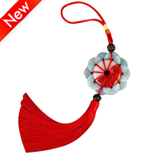 DIY Chinese Knot Pendant 10 Emperors Copper Coins with Jade Craft Tassels Decoration New Year Gifts Knots Tassel Fringe
