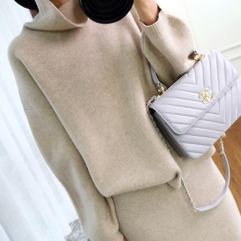 Femmes pull ensemble pull femmes travail costume automne et hiver nouvelle mode deux pièces jupe décontractée épaissie tricoté robe