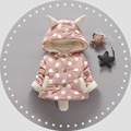 Девочка Одежда Зимняя куртка для девочек вниз пальто Рождественские костюмы для девочек-Розовый Точка мультфильм уши новогодний подарок куртка дети