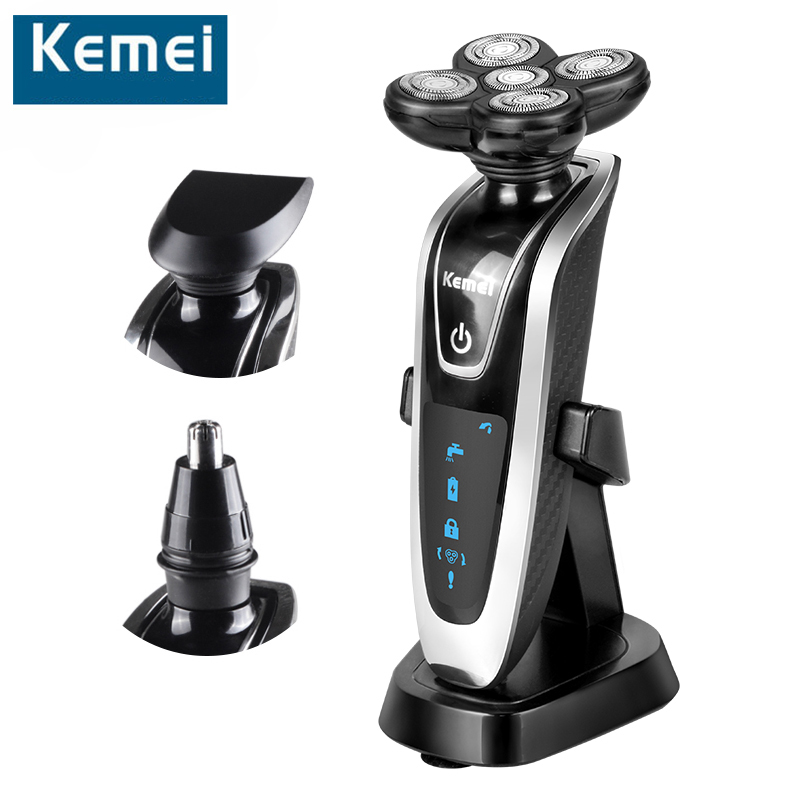 Kemei NEW 3 in1 Washable Electric Shaver 5D Floating Triple Blade Nose Hair Trimmer Men Shaver Beard Cutter Clipper Rechargeable povos pw830 men s electric shaver triple blade