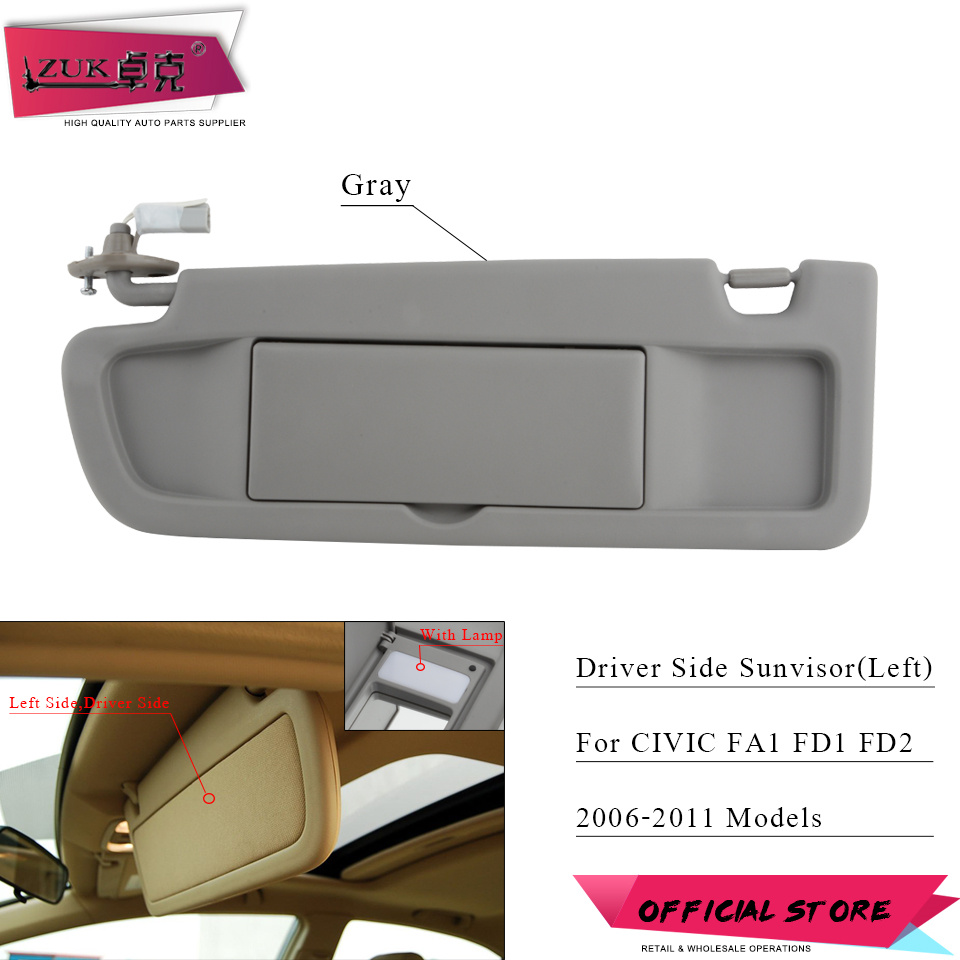 ZUK Car Left Driver Side Sunvisor Sunshade Sun Shield Antidazzle Visor For HONDA  CIVIC FA1 FD1 f6687b9a8a1