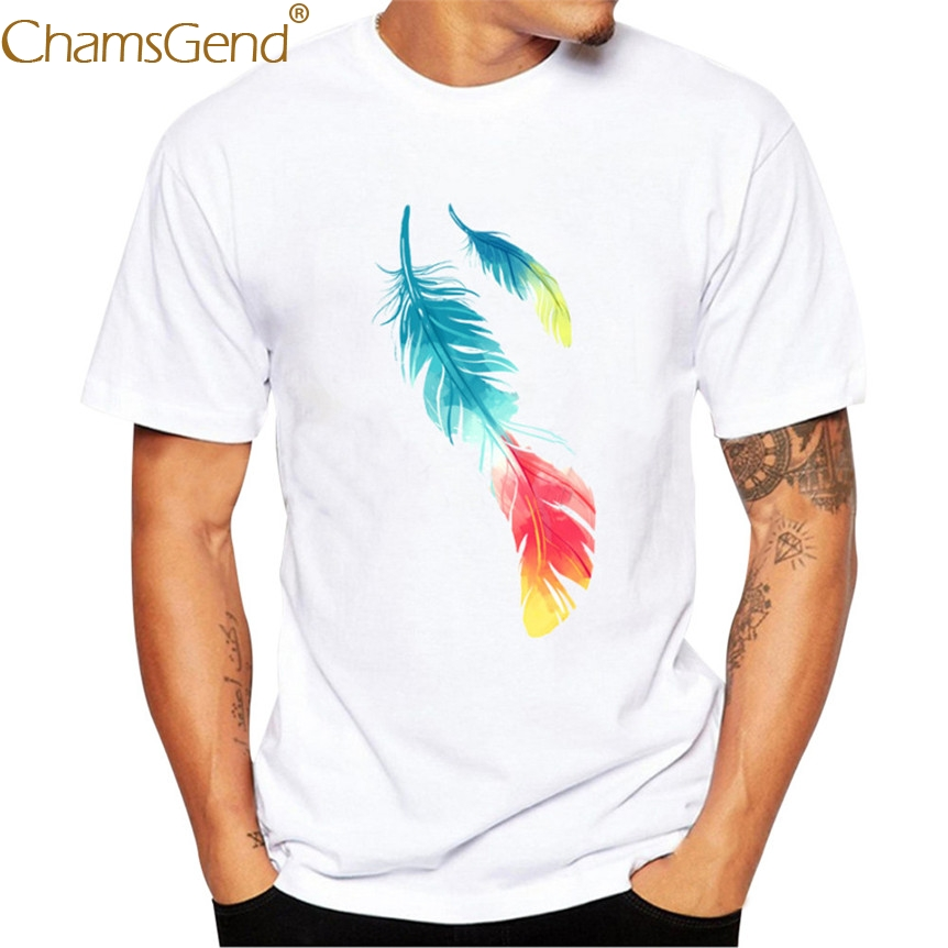 Chamsgend Fashion Men Casual Colorful Feather Print Short Sleeve Round Neck White T-Shirt 80207