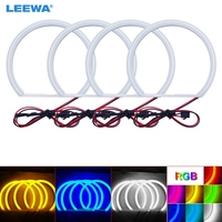 LEEWA 4X131mm Car Auto Halo Rings Cotton Lights SMD LED Angel Eyes for BMW E36/E38/E39/E46 Car Styling White/Blue/Yellow #CA3428
