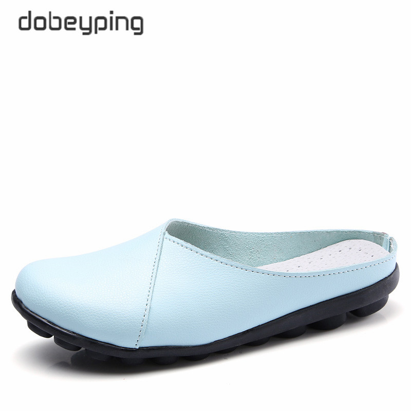 dobeyping 2018 New Arrival Summer Shoes Woman Cow Leather Flats Women Slip On Womens Loafers Female Solid Shoe Big Size 35-44