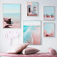 Pink Beach Sea House Door Cake Landscape Wall Art Canvas Painting Nordic Posters And Prints Pictures For Living Room Decor