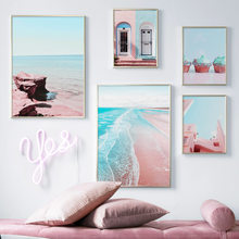 Pink Beach Sea House Door Cake Landscape Wall Art Canvas Painting Nordic Posters And Prints Wall Pictures For Living Room Decor(China)