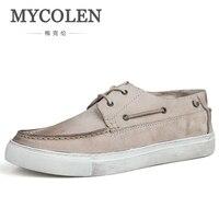 MYCOLEN новый список Мужская обувь минималистский дизайн Мужская Высококачественные туфли на плоской подошве повседневная обувь ручной работ