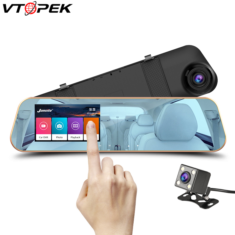 Full HD 1080P touch screen Car Dvr Camera Auto 4.3 Inch Rearview Mirror Digital Video Recorder Dual Lens Registratory Camcorder