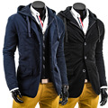 New Arrivals Spring Autumn Winter Black Navy Hooded Men Solid Jacket Coat Leisure Cotton Windproof Single-breasted Jackets Male