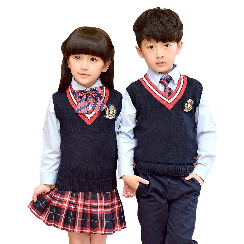 Children Uniforms 2018 Fashion Student School Uniforms Set Suit Girls Boys Sweater Vest Shirt Skirt Pants Tie Sets 2-10T