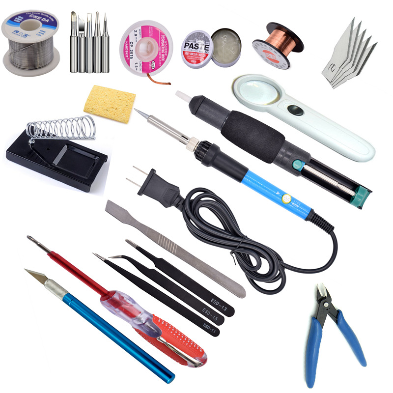 60W 110V us220V EU Electric Adjustable Temperature Welding Solder Soldering Iron with 5pcs Iron Tips + Tin wire 110v 220v 60w adjustable electric temperature gun welding soldering iron tool with tin wire