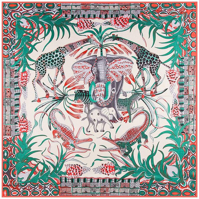 POBING 100% Silk   Scarf   Women Animals Print Silk Foulard Large Square   Scarves   Neckerchief Head Hijab Large   Wraps   130x130cm