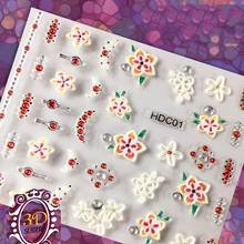 24Sheets 3D White & Pink decal Floral  Nail Stickers - 30PCS Per Sheet Art Tips Flower Decoration Decals, #14-G