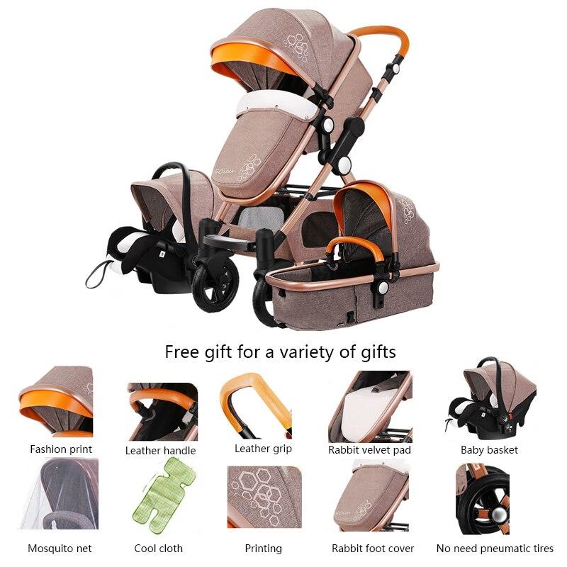 3 en 1 bébé poussette haute paysage poussette pliante chariot bébé panier nouveau-né poussette en cuir poussette