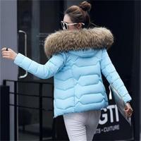 Winter Jacket Women 2018 New Fashion Slim Female Coat Thicken Parka Down Cotton Clothing Fake fox fur collar