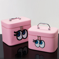 New Style Women Cosmetic Bags High Quality Makeup Box With Mirror Professional Makeup Large Small Cosmetic