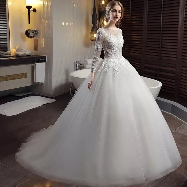 Long Sleeve Lace Wedding Dresses Ball Gown Backless Princess Weding ...