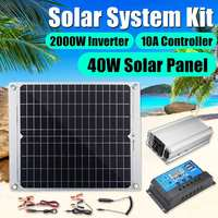 KINCO 40W Solar Battery Solar Panel +10A Controller +Power Inverter Charger Converter Solar System Kits for Fishing Boat Camping