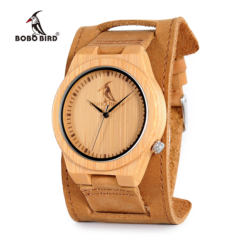 BOBO BIRD Watch Genuine Leather with Wide Strap Quartz Bamboo Wristwatch for Male OEM B-L07 hand made mens wooden bamboo quartz watch black genuine leather watchband simple unique modern wristwatch gift for male female