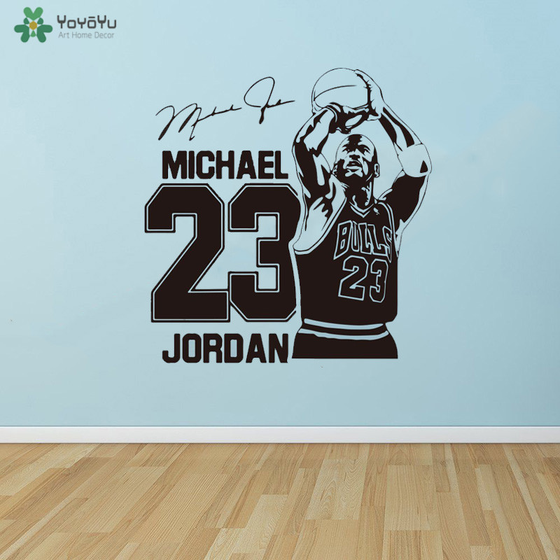 YOYOYU Wall Decal Famous Stars Wall Decals Basketball Wall Sticker Vinyl Art Wallpaper Sports Poster 40 Colors Available QQ303 in Wall Stickers from Home Garden