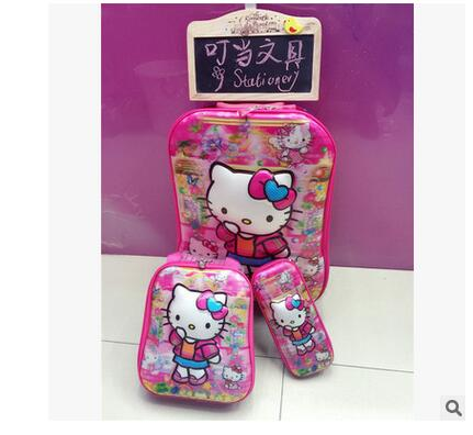 Kitty Cat Kids Rolling Bags 5D stereo girl's trolley case Cartoon Children Travel suitcase Lunch bag Kid's Trolley Bag On wheels