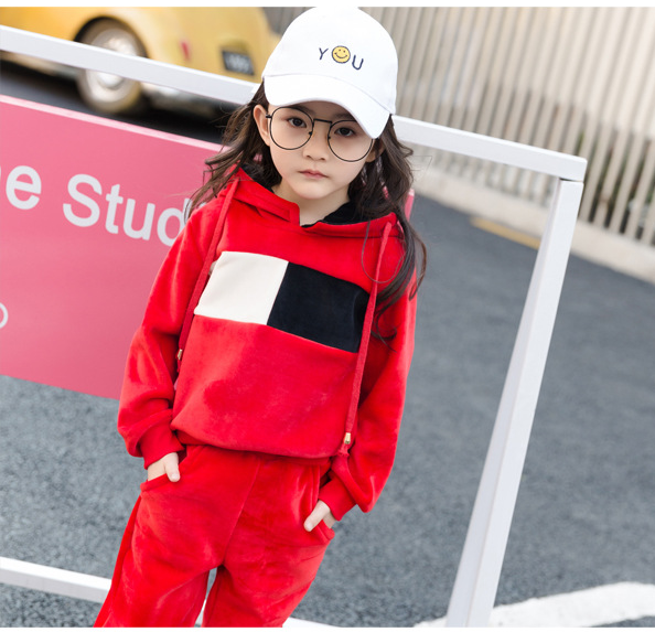 Girls gold velvet suit children's clothing spring and autumn children's baby hooded leisure sweater clothing sets 4 5 6 7 9 11Y машинка для стрижки волос philips hc5440