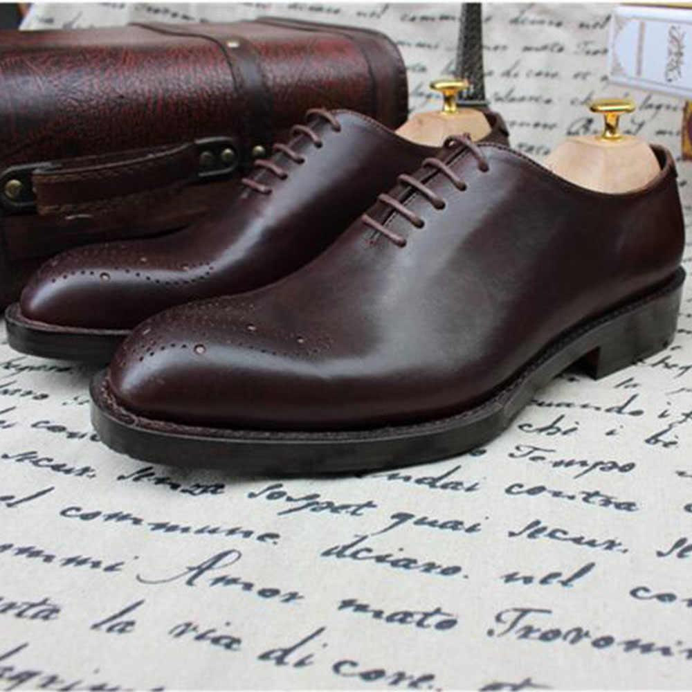 Sipriks Luxury Mens Handmade Welted รองเท้าแกะสลักสีน้ำตาล Brogues Vintage Boss อย่างเป็นทางการรองเท้าธุรกิจสำนักงานสไตล์