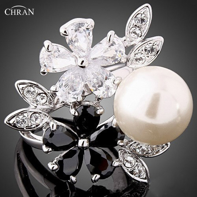 Chran Wholesale Silver Color Cubic Zirconia Big Simulated Pearl Rings For Women Fashion New Flower Jewelry accessories Russia