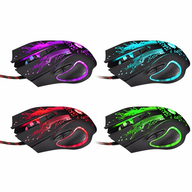 USB Wired LED Light Optical Gaming Mouse 6 Buttons 3200 DPI Computer PC Gamer Mice Backlight Esports Laptop Games Mouse for PUBG 2