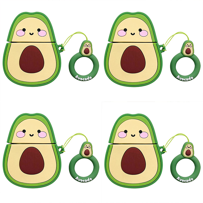 Cases For AirPods Pro 2 1 Earphone Soft TPU Cute Avocado Pattern Case For Air Pods Pro 2 1 Cartoon Avocado Cover Case With Hooks