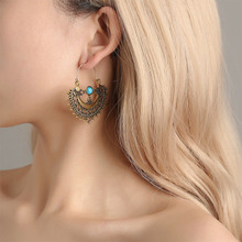 все цены на Heart Shape Vintage Earrings Antique Carving Bohemian Beach Hollow Out Flower Ethnic Earrings for Women Jewelry Brincos WD166 онлайн