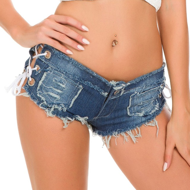 Women Sexy Jeans Shorts Summer Fashion Low-waist Denim Knotted Band Mini Short Beach Casual Shorts Sexy Club Party Bikini Bottom 4