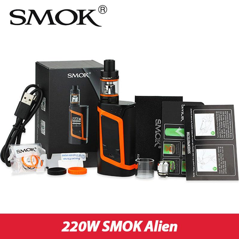 ФОТО Original Smok Alien Kit 220W Box Mod 3ml Smok TFV8 Baby Tank vaporizer electronic cigarette Vape Kit Smok Alien 220 Mod SK03