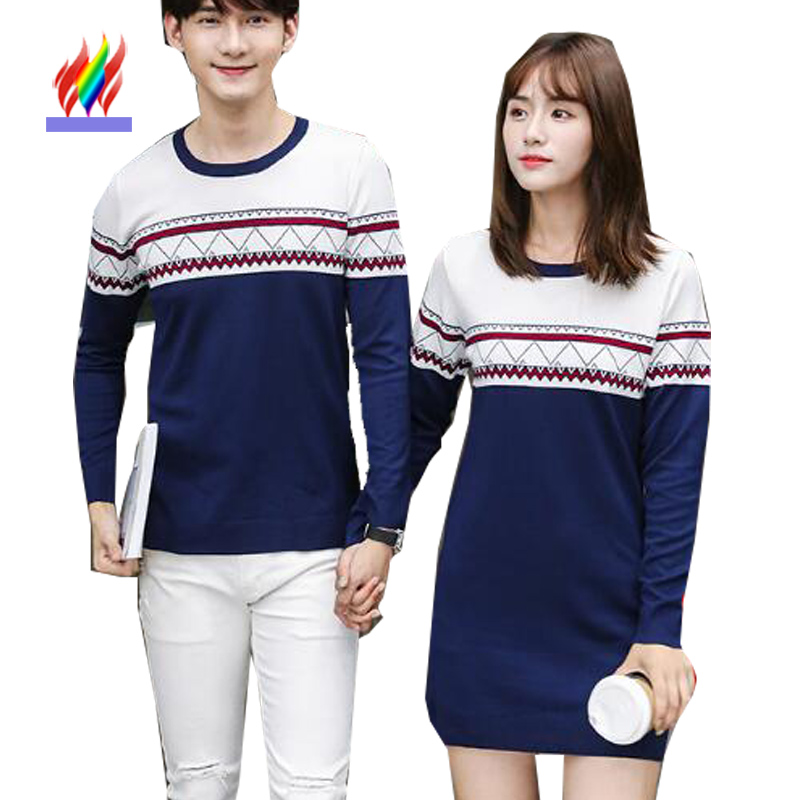 a8bfe1a03b Autumn Winter Basic Wear Pullovers Sweaters For Lovers Female Male Couples  Clothes Slim Cute Striped Knitted