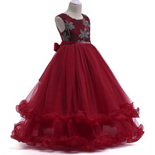 Wholesale High Quality Flower Ruffled Princess Formal Prom Gown Dress Elegant Embroidery Boutiques Girls Wedding Dress LP-76(China)