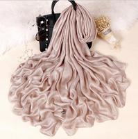 Однотонный льняной шелковый шарф шаль парео женские красивые шарфы основа Foulards Femme