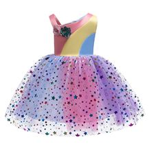 2019 Appliques Toddler Girls Dress Rainbow Star Princess Elegant Kids Dresses for Wedding Birthday Party Vestido Infantil