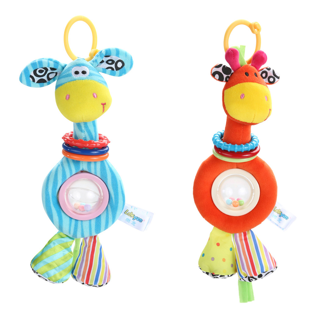 Baby Pram Toys For For Children Newborns Plush Giraffe Cartoon Placate Stroller Bed Hang Toy Dolls Handbell Teether Baby Rattles