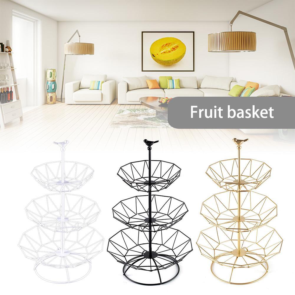 3 уровня фруктовых пластина столешница металлическая корзина для фруктов мульти Слои Винтаж Стиль лоток Стенд корзина для хранения Кухня к