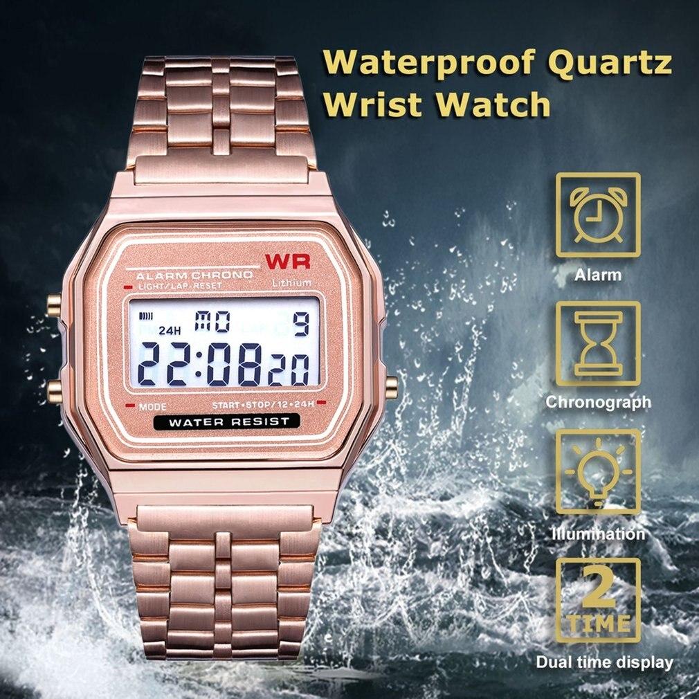 Alarm LED Digital Wrist Watch Waterproof Stainless Steel Strap Ultra Business Wrist Watch For Women Men Traveling GIFTS