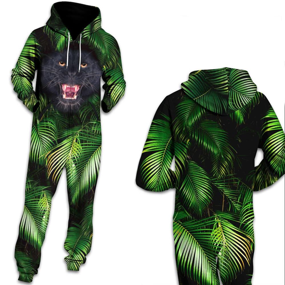 Pantalon Impression Panther Tropicales Feuilles Combinaisons Streetwear Femmes Vert D'entraînement Barboteuse Salopette Qybian nOq6Uw4I0x