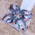 Arco Iris mágico Creado Topacio Amatista Plata Esterlina 925 Mujeres de Gran Tamaño Del Anillo 6/7/9 E801