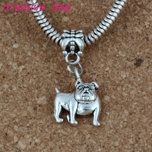 100pcs/lot Dangle Ancient silver Cute Bulldog Charm Big Hole Beads Fit European Charm Bracelet Jewelry 13x29mm A-225a 20pcs lot dangle ancient silver owl charm big hole beads fit european charm bracelet jewelry 12x34mm a 229a