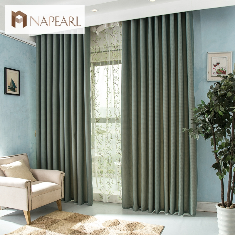 Free Shipping Rustic Green Curtain American Countryside Style Ready Made Curtains For Bedroom