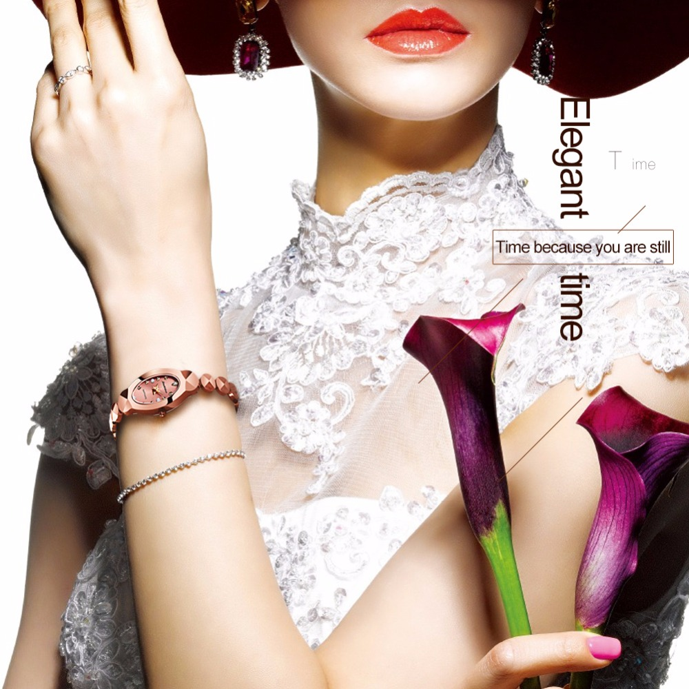 JSDUN Women watch Ladies Tungsten steel bracelet Japanese Quartz movement watch Fashion Dress Rhinestone Clock relogio feminino