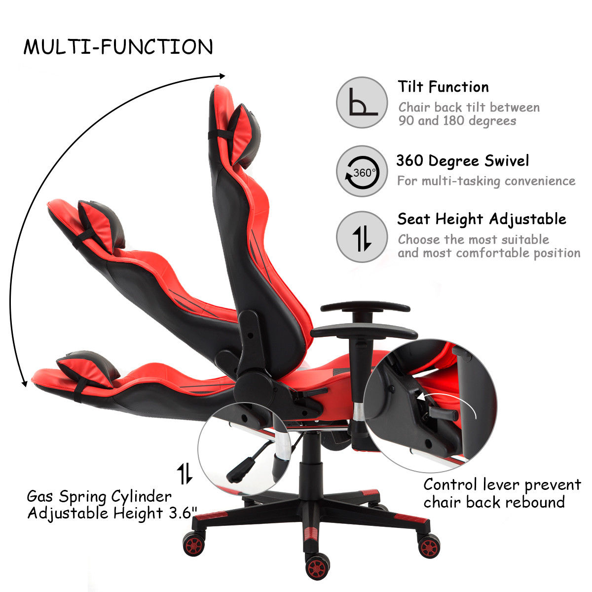 Racing Desk Chair Best Gaming Chairs For Pc Giantex Ergonomic High Back Office With Lumbar Support Footrest Modern Reclining Furniture Hw56576re In From