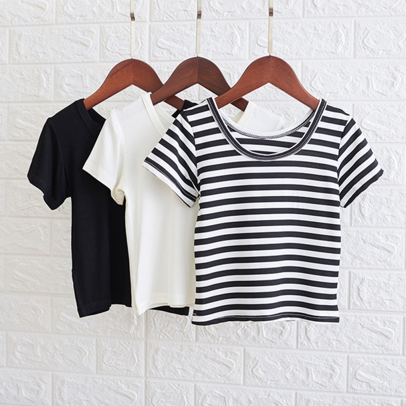 Summer Baby Girls T-Shirt Short Sleeve T-Shirts Kids Solid Striped Print Tops Tees Casual Backless Blouse