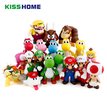 8 - 15cm Anime Super Mario Bros Figure Bowser Koopa Yoshi Luigi Mushroom Peach PVC Home Decoration Children Birthday Gift