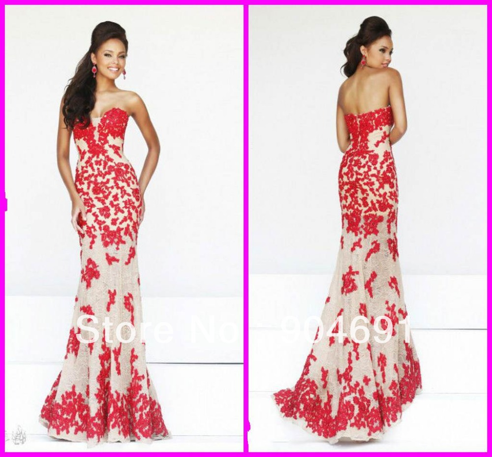 Lace Evening Dress Creamnude Lace Red Appliques Luxury Night Dress