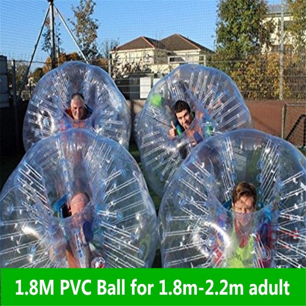 1.8m PVC საჰაერო ბამპერის ბურთი სხეულის ზორბის ბურთი ბურთი Bubble ფეხბურთი Loopy Bubble Soccer Zorb Ball იყიდება